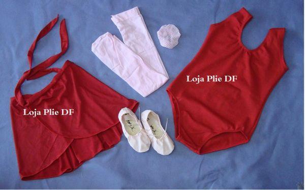 2a8a378edb46a2 kit ballet Infantil VERMELHO para aula - Loja Pliê - Artigos para ...